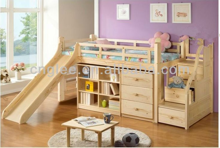 Children wooden bed with slide buy children bed design kids beds with slide wooden bed product Wooden childrens furniture