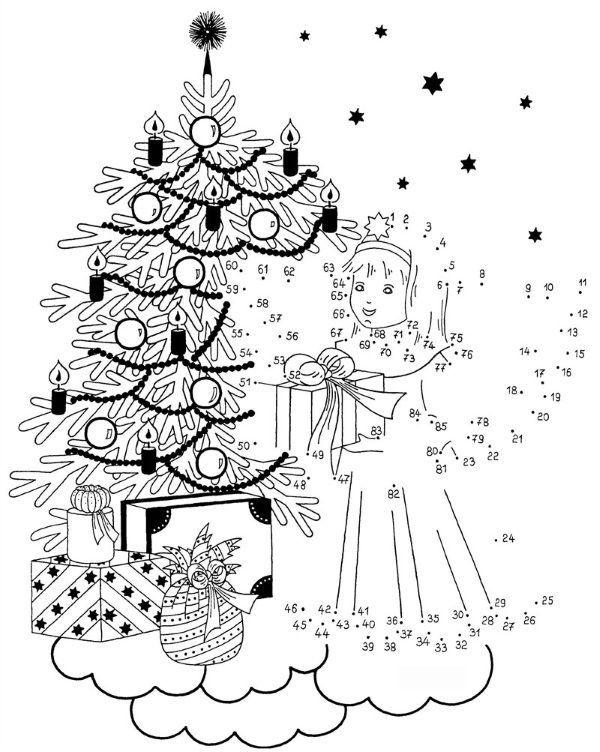 Dibujo De Unir Puntos De Angel En Navidad Dibujo Para Colorear E Imprimir Dibujos Para Colorear Imprimir Sobres Puntos
