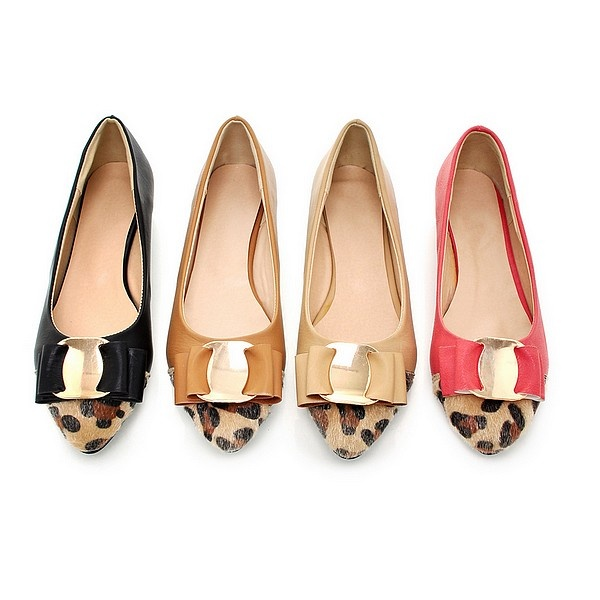 Pointy Toe Leopard Print Flat Shoes For Woman Bow Tie Buckle Brown Apricot  Red Black Color