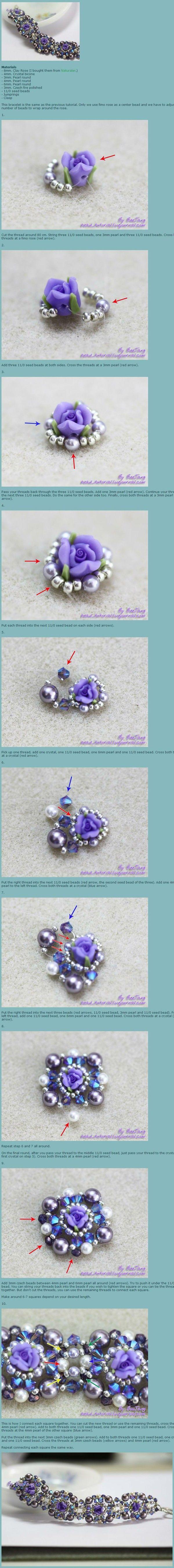 串珠手链。原创地址:http://beejang.livejournal.com/225758.html#cutid1 - halskæde med roser - smukt - skal laves