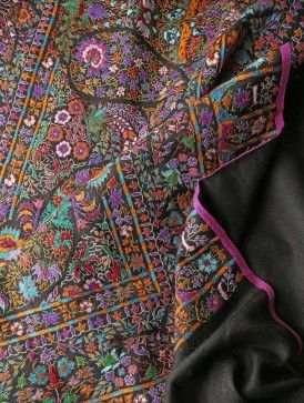 Finely Embroidered Palledar All-Over Kashmir Wool Shawl With Pashmina Pallas