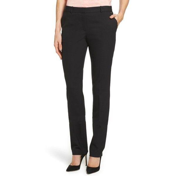 Petite Women's Boss Titana Stretch Wool Trousers (18.470 RUB) ❤ liked on Polyvore featuring pants, black fantasy, petite, straight leg trousers, straight leg pants, petite pants, boss hugo boss and petite trousers