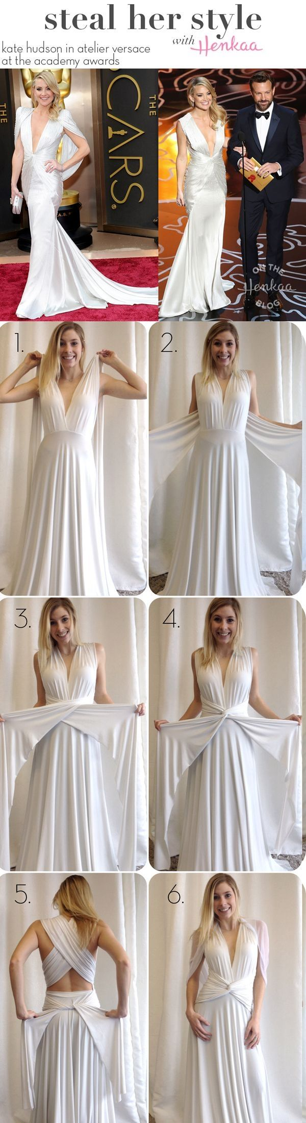 Steal Kate Hudson's Oscars style with a convertible dress! One dress that can be worn in multiple ways and styled for any occasion! by claudia