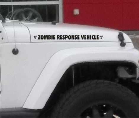 Zombie Response Vehicle fender Sticker / Decal for jeep 4x4 Truck Car - Matte Black