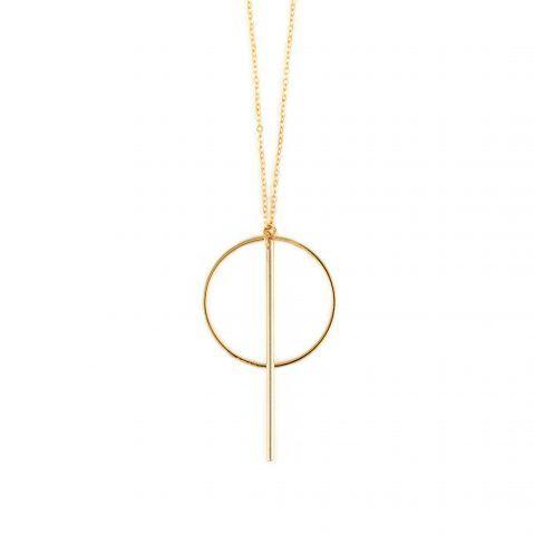 Kette mit Anhänger Gold geometrisch Madeleine Issing    Kette mit Anhänger Gold geometrisch. Halskette aus Messing 14k gelb Gold vergoldet. Die Halskette hat eine Gesamtlänge von ca 50 cm. Der Anhänger hat einen Durchmesser von 3 cm. Auch als Statement Kette Silber rhodiniert online erhältlich.