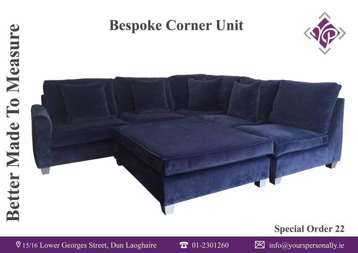 Yours Personally Bespoke Interiors, Large Corner Unit covered in Linwood fabric with a large footstool creating the perfect lounging area. Yours Personally also create Bespoke sofas, chairs, bedhead, curtains, blinds and anything that can be upholstered. We also supply fabrics and wallpapers.