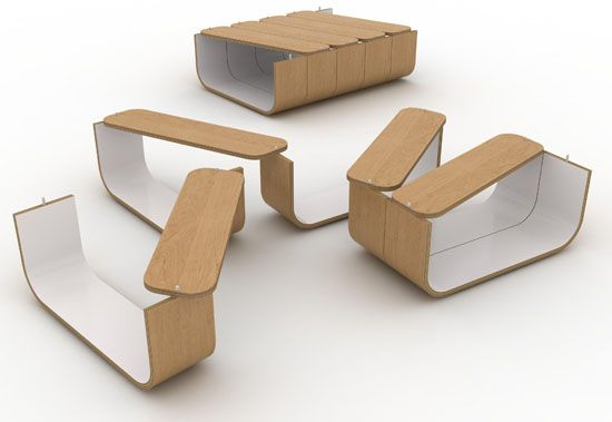 Creative UMYD coffee table that you can move into different shapes depending on your needs.