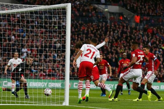 Man Utd 3 Southampton 2 in Feb 2017 at Wembley. Amazingly Manolo Gabbiadini scored again to make it 2-2 in the League Cup Final.