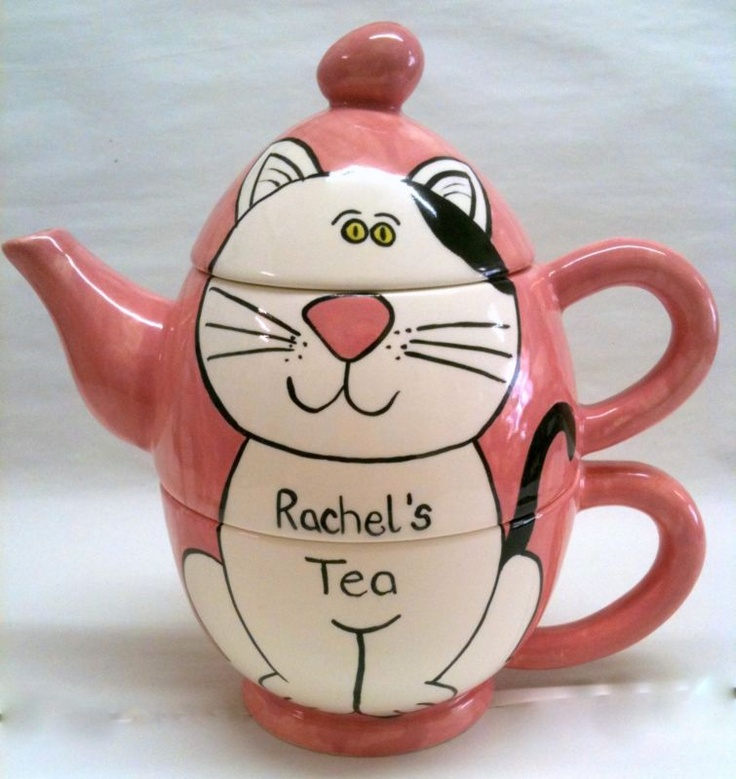 Hand Painted Personalised Ceramic Cat Tea for One Teapot and cup gift present | eBay