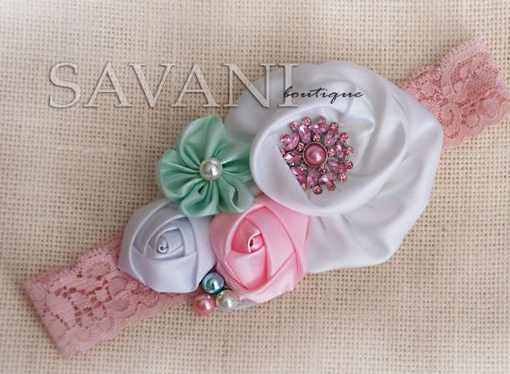 Whitemint and lt.Pink shabby chic baby headband por SAVANIboutique