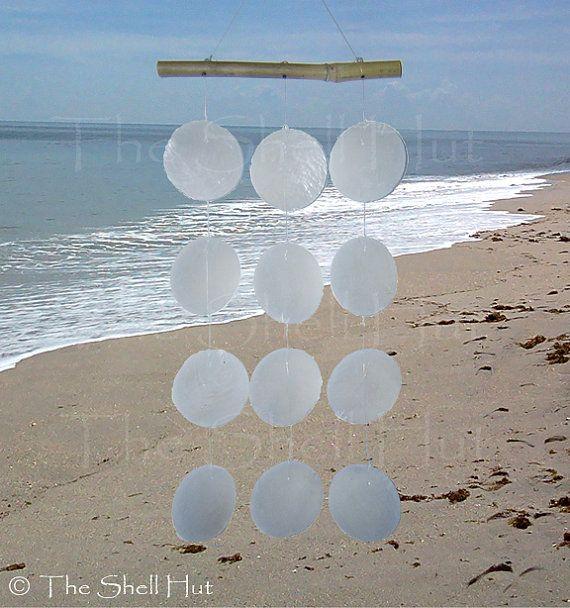 Seashell Wind Chime White Capiz and Bamboo Nautical Beach