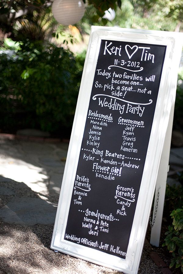 I could paint a board with chalkboard paint and use a mirror frame and use this idea in the church and then use it at the reception! for those who didnt make the ceremony! loooove