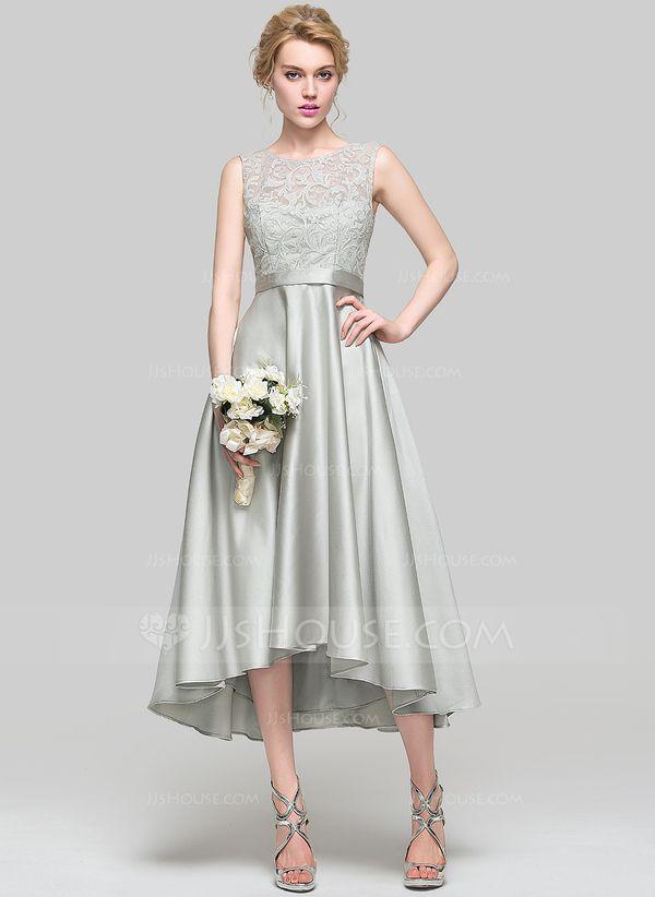 9950c1252089 A-Line/Princess Scoop Neck Asymmetrical Satin Bridesmaid Dress ...