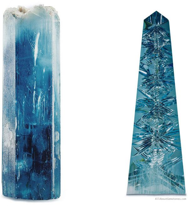 """This magnificent rough stone came from the state of Minas Gerais in Brazil and was named """"Dom Pedro"""" after the two emperors of Brazil: Dom Pedro Primeiro and Dom Pedro Segundo. Weighing 24,875 grams, this blue variety of Beryl known as """"Aqua Marina"""" or """"Aquamarine"""" was 10,363 carats and 23 1/4 inches (59 cm) Tall."""