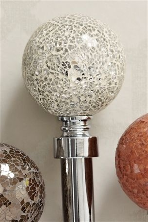 Silver Crackle Glass Ball 28mm Extendable Curtain Pole