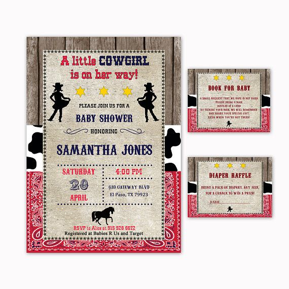 Cowgirl Baby Shower Invitation  Book for Baby  Diaper