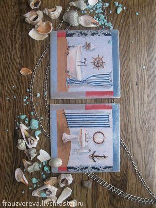 `Дочь моряка`- Таблички для ванной и туалета. Таблички для санузла, выполнены в технике декупаж.  Прекрасно подойдут для интерьера в морском стиле.