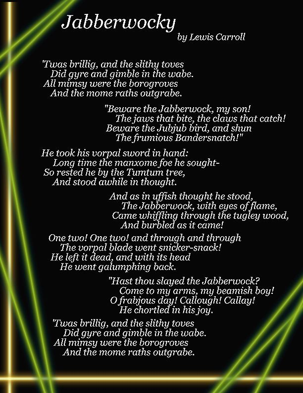 jabberwocky poetry and lewis carroll Jabberwocky is a nonsense poem written by lewis carroll about the killing of a  creature named the jabberwock it was included in his 1871 novel through.