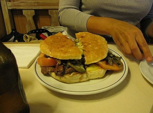 Chacarero, the best sandwich ever: thin slices of beef, tomatoes, string beans, chili peppers and mayonnaise