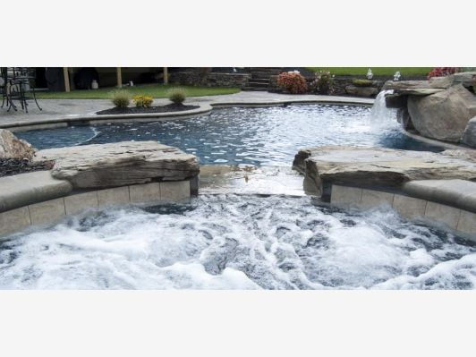 IN Side Look Of A Spa Waterfall Into A Pool   Home And Garden Design Ideau0027s