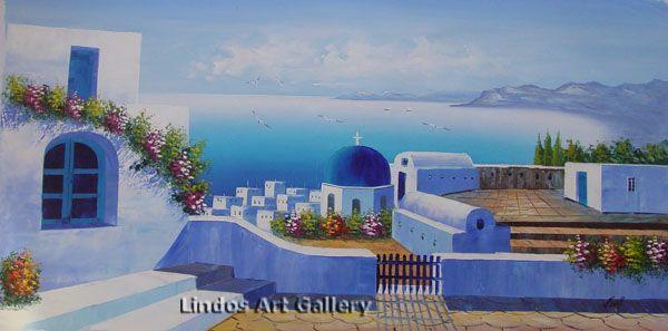 Santorini Church and Sea Oil Painting
