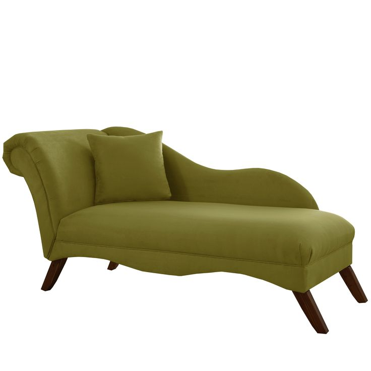 Skyline Furniture Chaise Lounge in Velvet Applegreen (Applegreen), Green (Fabric)
