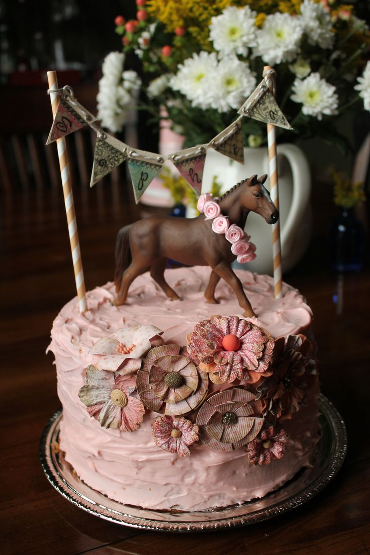2 Layer Cake 2nd Birthday Horse Themed Cake Cakes In