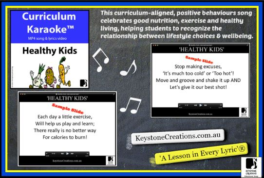 This K-6 song is a positive behaviours, curriculum-aligned song celebrating good nutrition, exercise and healthy living. It helps students to recognize the relationship between food & lifestyle choices and performance & wellbeing. DETAILS: https://www.teacherspayteachers.com/Product/HEALTHY-KIDS-Curriculum-Karaoke-MP4-Song-Lyrics-for-Whiteboard-3224910