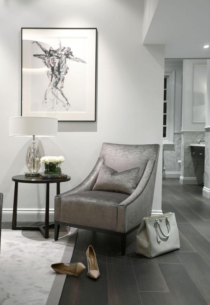 shimmering velvet and stunning lighting contemporary master bedroom - seating Area || http://boscolo.co.uk