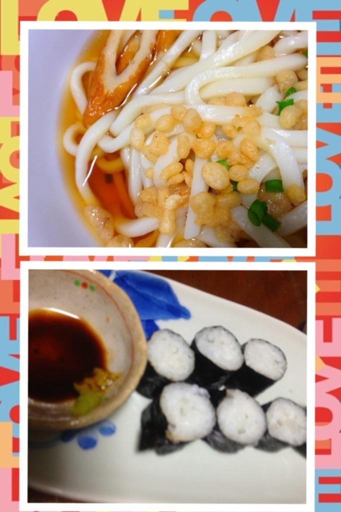 昨日の夕ご飯:うどん(鶏と麺つゆ。ネギ、竹輪、天かす)、イカの細巻き。