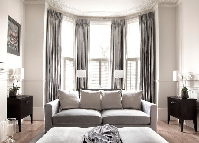 Shutters And Curtains; Black, White And Dove Grey
