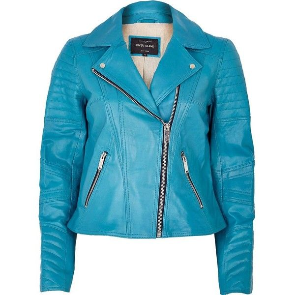 River Island Bright blue leather biker jacket ($78) ❤ liked on Polyvore featuring outerwear, jackets, coats, blue, sale, blue quilted jacket, leather jackets, blue leather jacket, leather biker jackets and quilted leather jacket