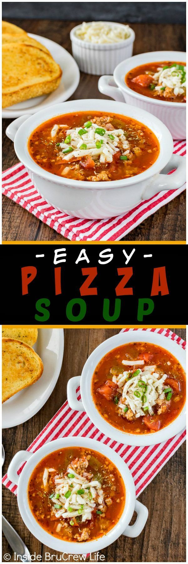 Easy Pizza Soup - this homemade soup is loaded with meat and veggies and can be ready in minutes. Great dinner recipe for busy or cold nights!