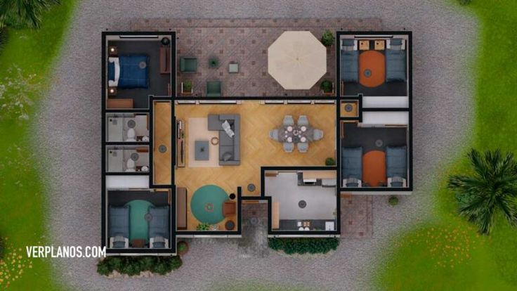 Descargar Planos de casa con 4 Dormitorios y 2 Baños (DWG ...