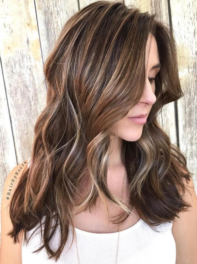 Long Brunette Hair With Blonde Highlights