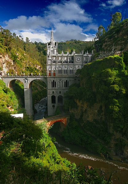 Las Lajas Sanctuary (Spanish: Santuario de Las Lajas) is a minor basilica church located in the southern Colombian Department of Nariño, municipality of Ipiales and built inside the canyon of the Guáitara River.