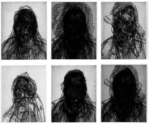 © Glenn Brown Layered Portraits (after Lucien Freud) No. 1-6, 2008 6 Etchings on paper Paper: 37 x 29.6 inches (94 x 75.1 cm)