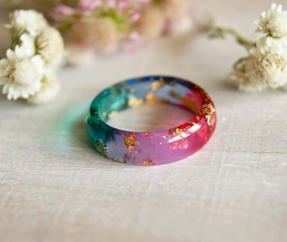 Resin rings Stacking Colorful Thin ring Minimalist ring Tiny