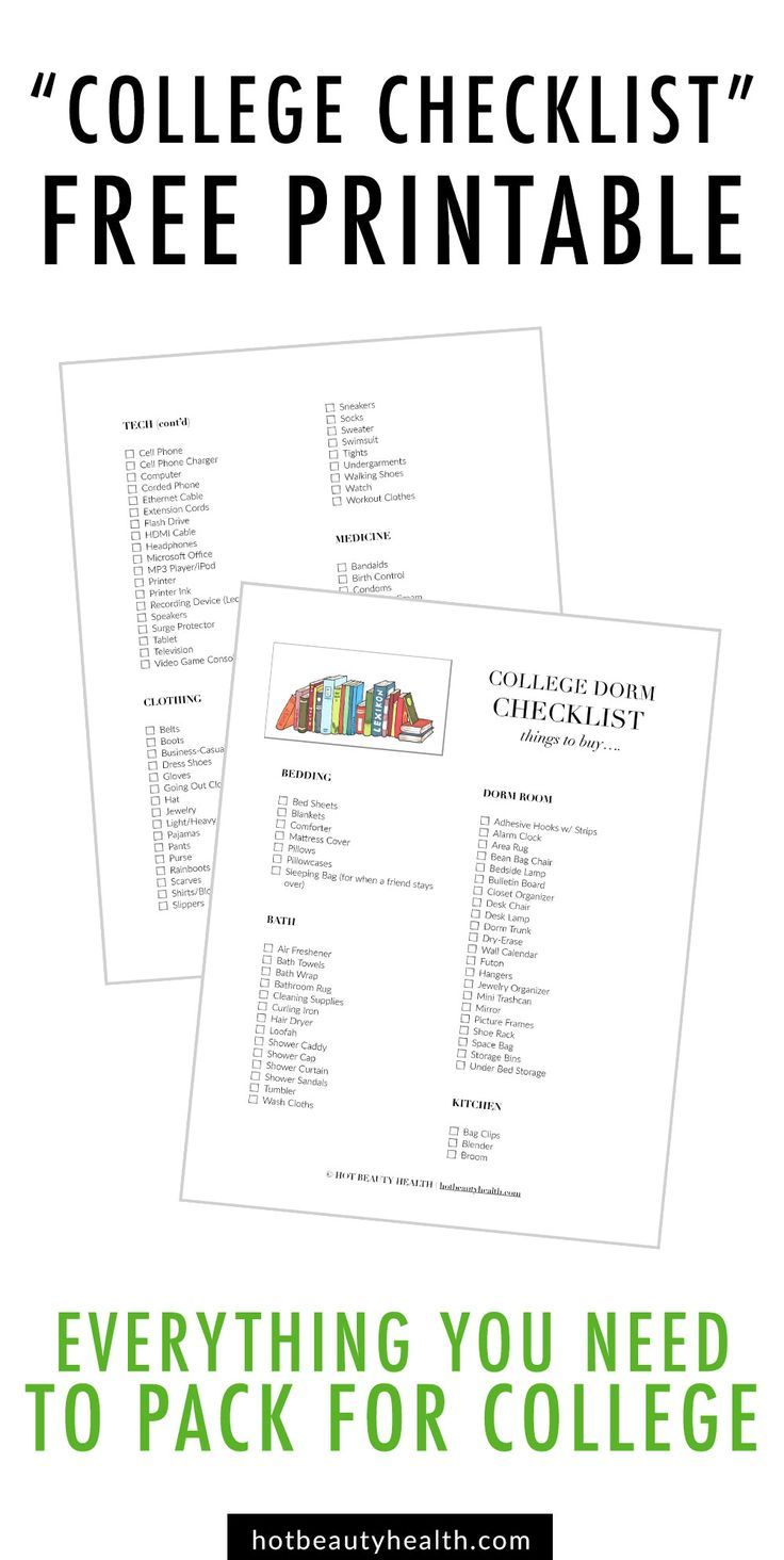 College dorm room checklist for girls-9225