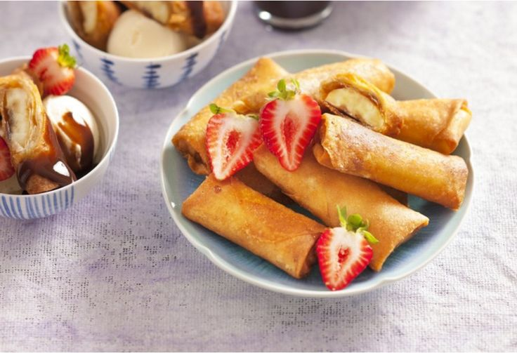 Spring roll wrappers, rolled up with fresh bananas and brown sugar, then fried…