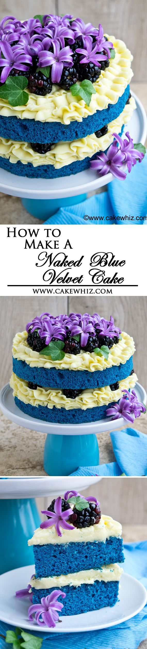 Learn how to make a NAKED BLUE VELVET CAKE with step-by-step instructions.