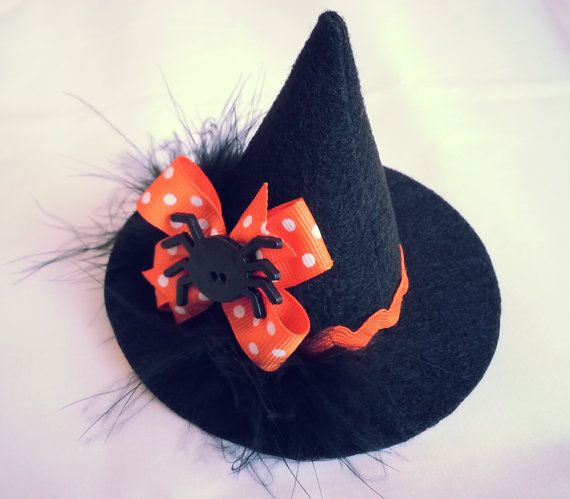 Mini witch hat on alligator clip witches hat felt with for Tiny top hats for crafts