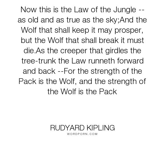 "Rudyard Kipling - ""Now this is the Law of the Jungle -- as old and as true as the sky;And the Wolf that..."". dogs, show-love-for-dogs"
