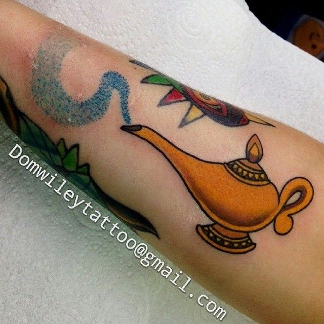 Awesome Genie Lamp in honor of Robin Williams! Tattoo by @domwileyart…