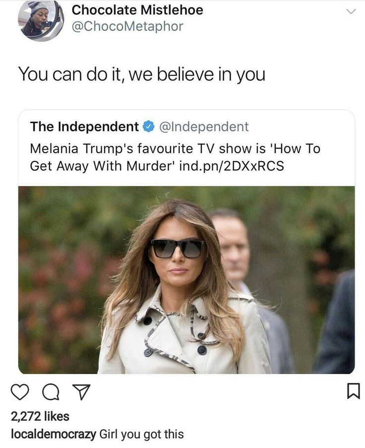 Come on, Melania! We're all counting on you.