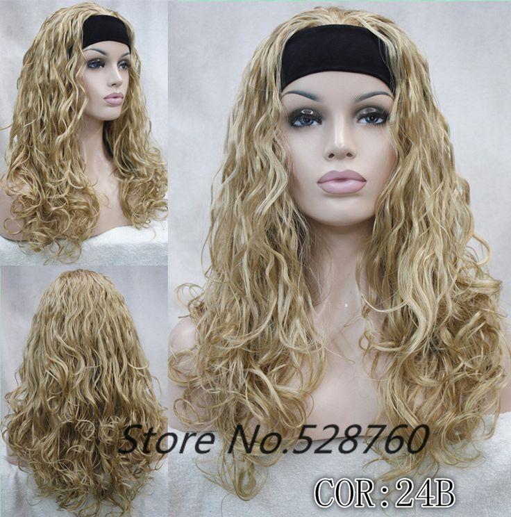 Fashion sexy Light brown Blonde headband wigs fluffy curly wavy half wig 34wig free shipping