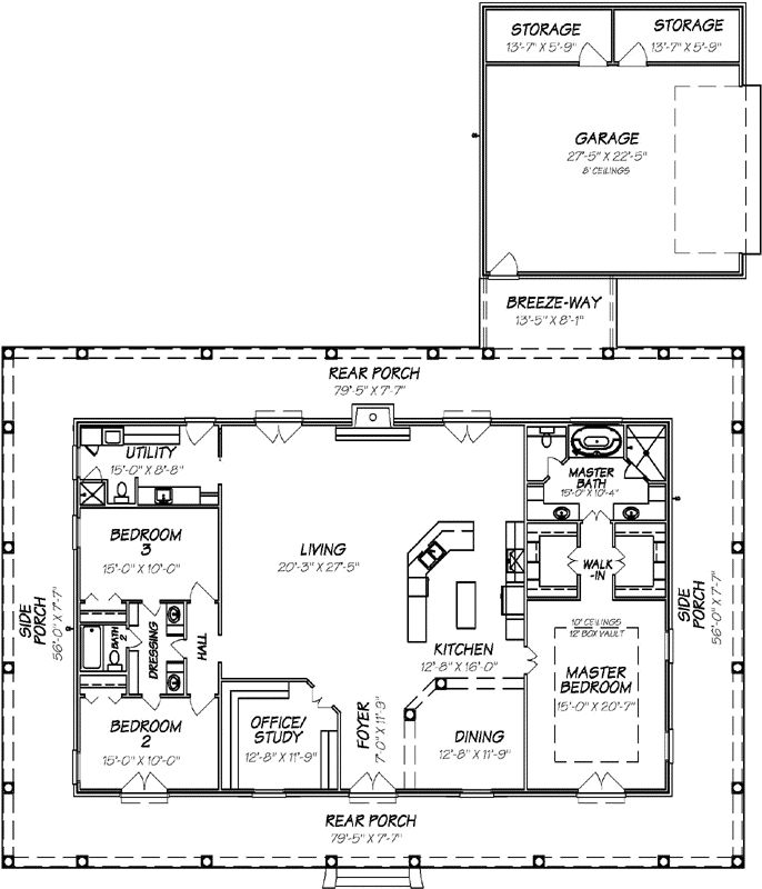 Country Style House Plans - 2560 Square Foot Home , 1 Story, 3 Bedroom and 2 Bath, 2 Garage Stalls by Monster House Plans - Plan 56-103