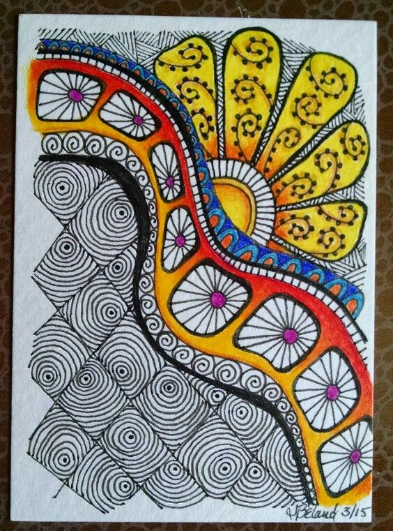 *****DO SOME DOODLES/MANDALAS THAT ARE HALF B&W AND HALF COLOUR Beland. Zentangle ATC. 3/15.