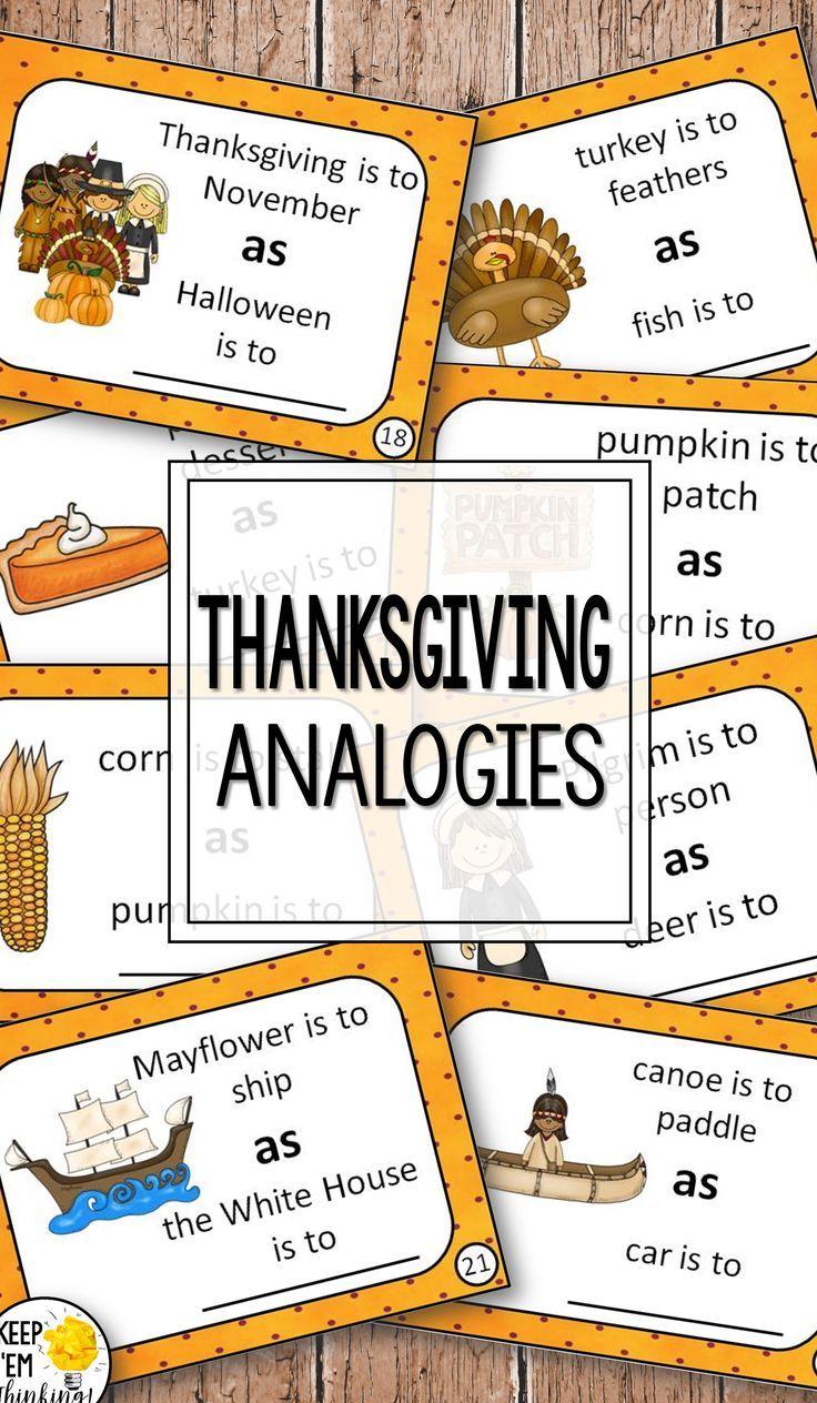 Analogies Task Cards For Grades 1 3 Task Cards November Teaching Ideas Analogy Task Cards [ 1264 x 736 Pixel ]