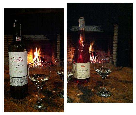 Wine night by the chimney
